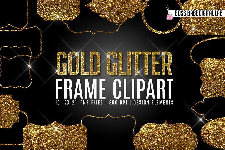 Gold Glitter Frame Clipart