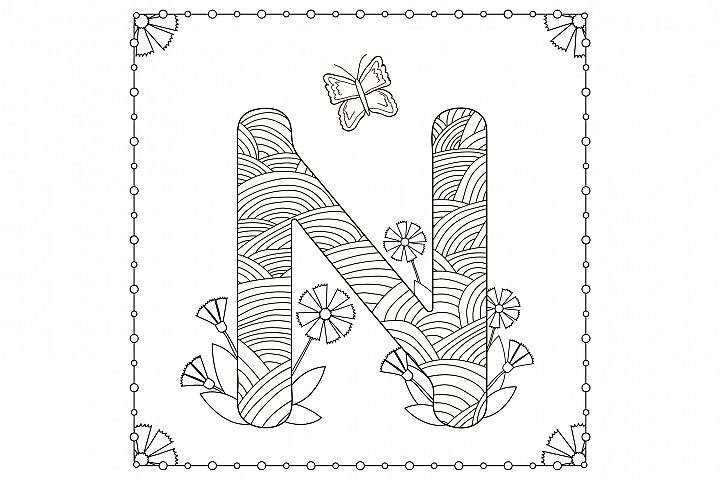 Letter N. Flowers. Coloring page.