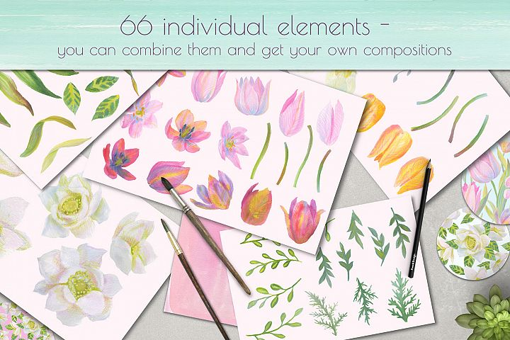 Floral Design Pack (watercolor & pastel) - Free Design of The Week Design 11