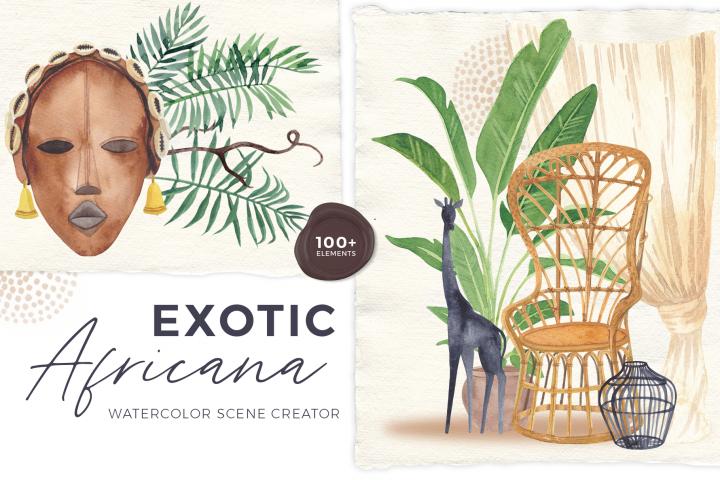 Africana - watercolor scene creator