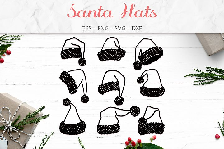 Santa Hats Svg, Santa Claus Hat, Christmas Clipart