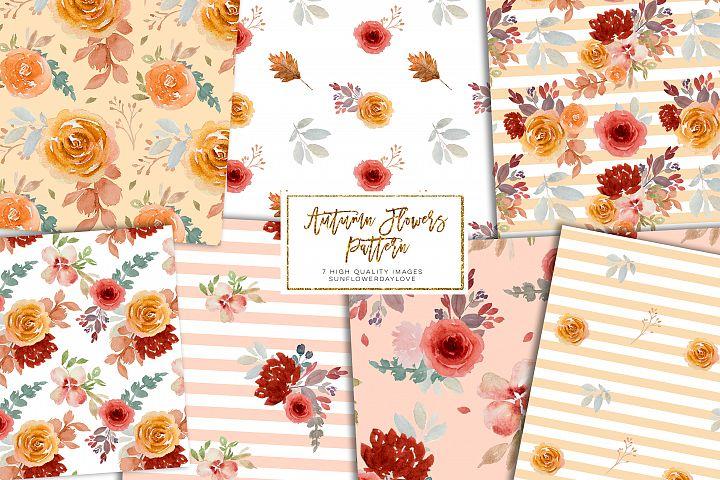 Autumn Burgundy Floral digital paper