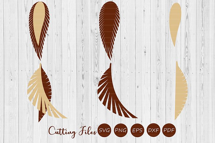 Stacked feather fringe earring | SVG cutting files |