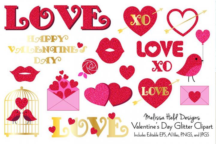 Valentines Day Glitter Clipart