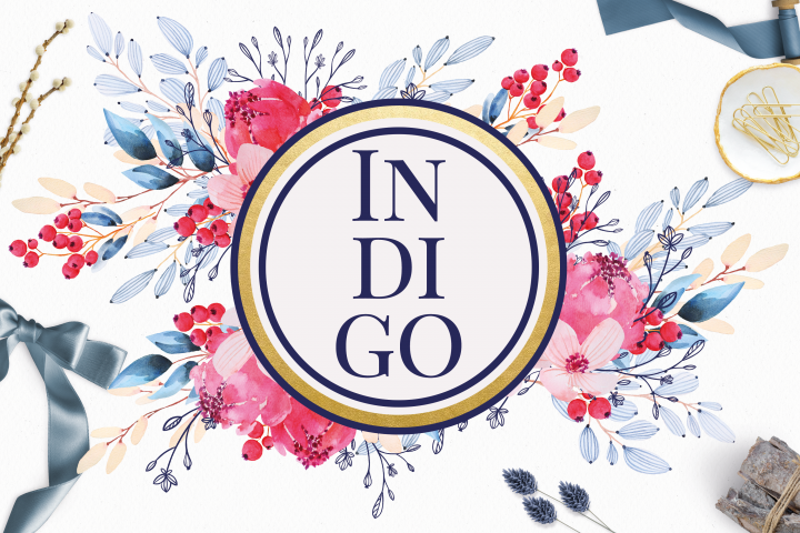 Indigo Flowers Watercolor Clip Art Set