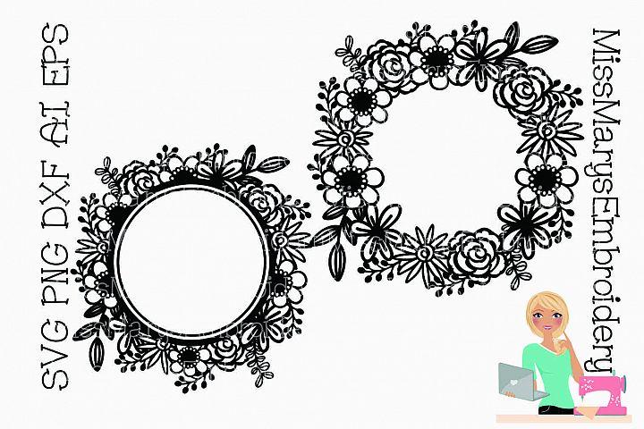 Flower Monogram Wreath SVG   Flower Monogram SVG  