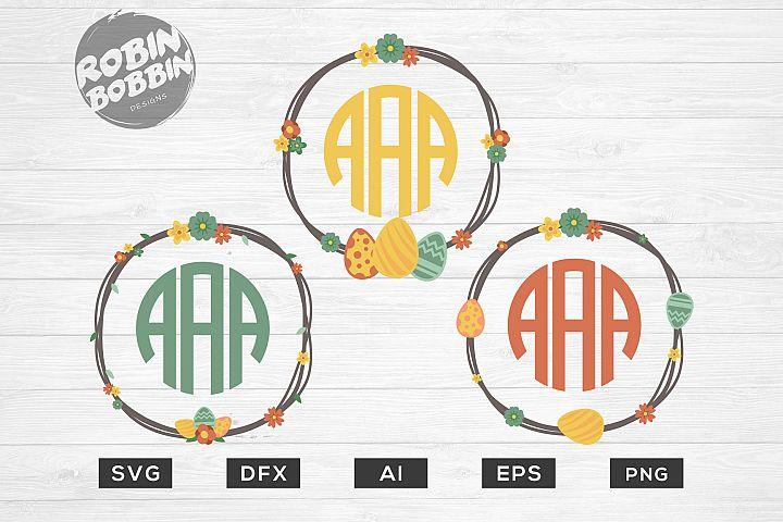 Easter Monogram Frames Wreath SVG - Happy Easter SVG Files