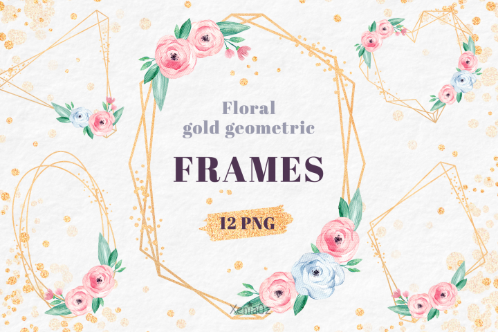 Watercolor Floral Geometric Gold Frames, Invite Clipart, PNG