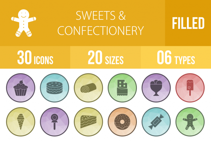 30 Sweets & Confectionery Filled Low Poly Icons Season II