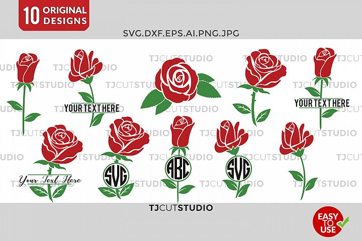 Flower Monogram, Rose svg, Circle monogram , Rose Monogram Frame Svg, Svg Files for Silhouette Cameo or Cricut Commercial & Personal Use.