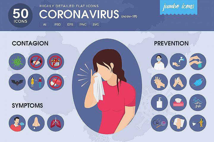 Corona Virus - Flat Vector Icons