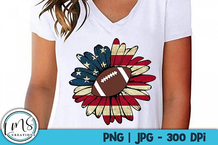 Patriotic Sunflower - Football PNG, JPG, Sublimation, Print