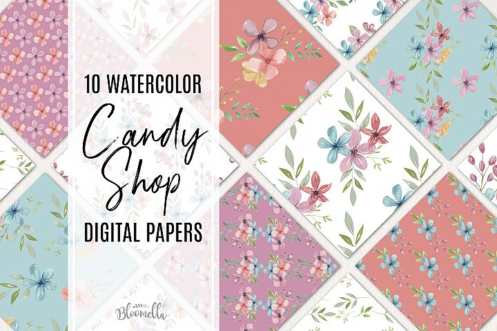Candy Shop 10 Seamless Patterns Digital Paper Pastels Floral example image 1