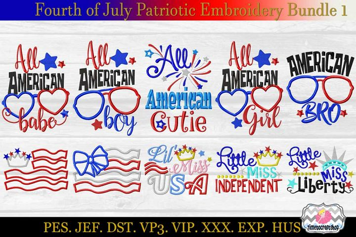 Fourth of July Patriotic Applique Embroidery Bundle 1