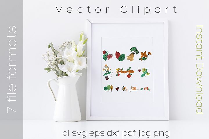Nature SVG Bundle Watercolor Clipart Drawing Vector Cutfiles