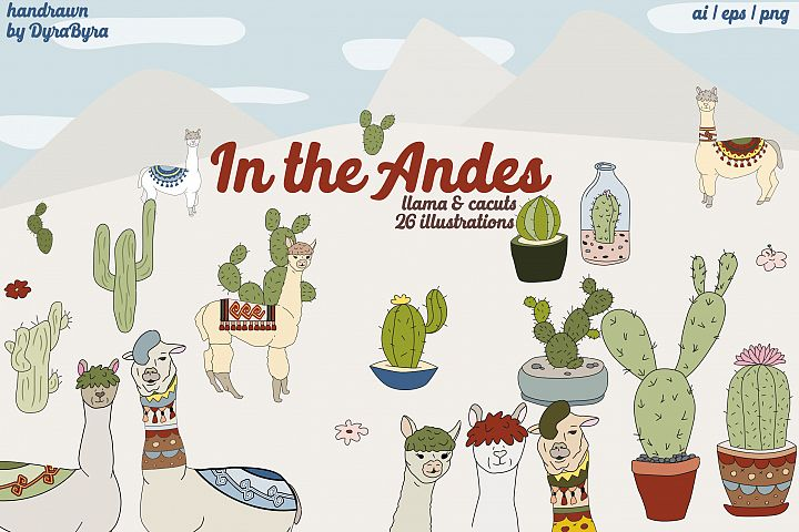 Llama Clipart, Cactus Graphics Illustrations