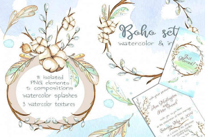 Watercolor boho set