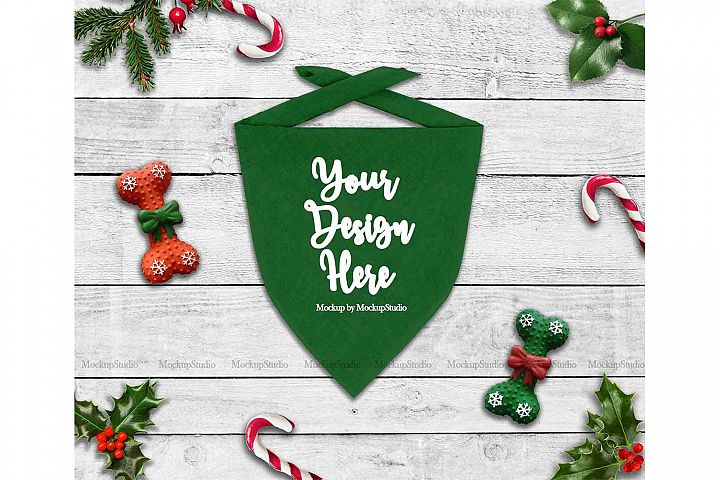 Christmas Green Dog Bandana Mock Up, Pet Scarf Flat Lay
