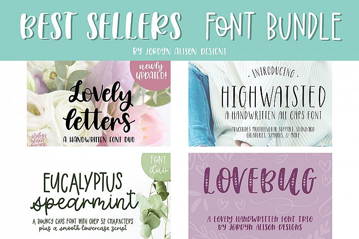 Best Sellers Font Bundle, 4 Hand Lettered Fonts