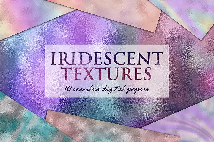 10 Iridescent Textures - Seamless Holographic Foil