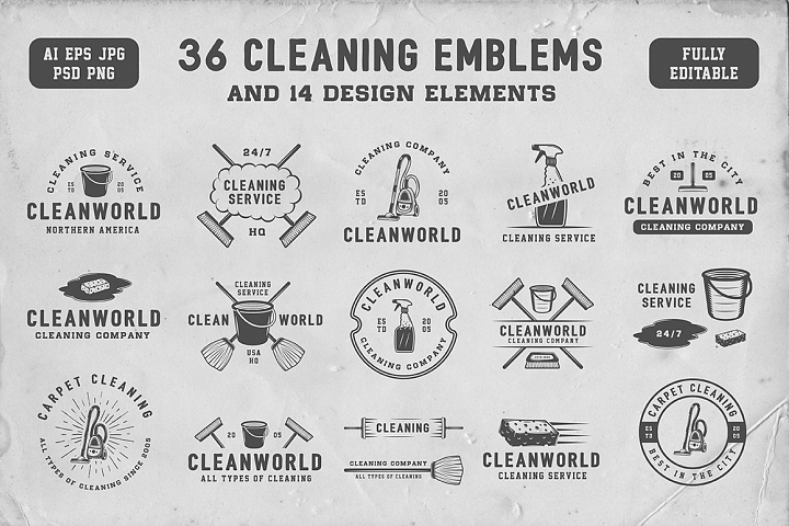 Set of Vintage Cleaning Emblems