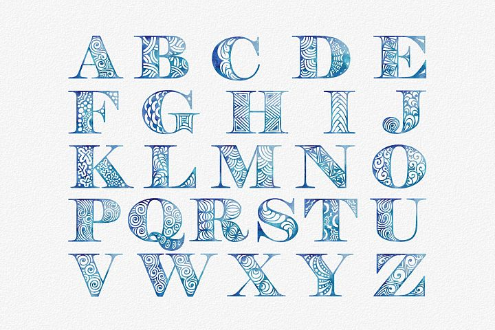 Blue watercolor alphabet clipart set