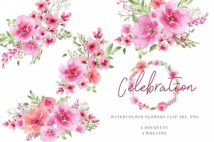 Watercolour clipart, Pink flowers and greenery bouquets