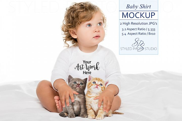 Baby Shirt Mockup with baby and kittens, 2 JPGs, 2 Sizes