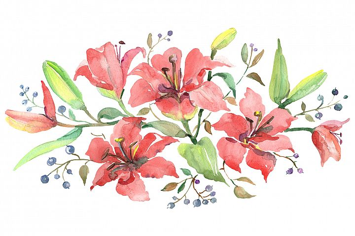 Branch of orange lilies Watercolor png