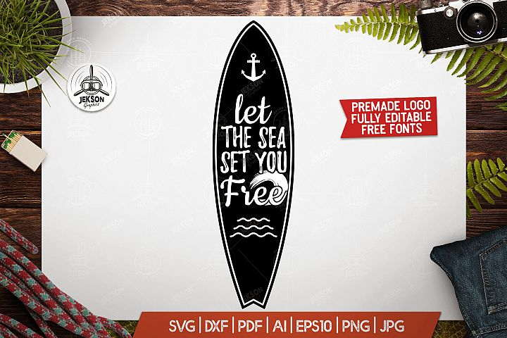 Surf Board Adventure Badge, Vintage Summer Sea Logo SVG File