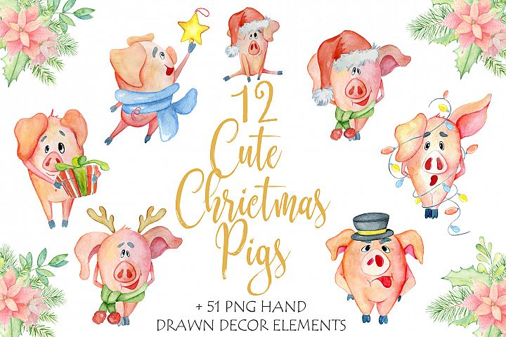 Cute Christmas pigs with decor elements for New Year 2019