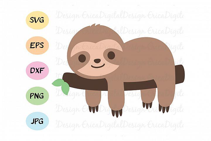Sloth SVG cut file, Baby Sloth cutting file, Cute Sloth