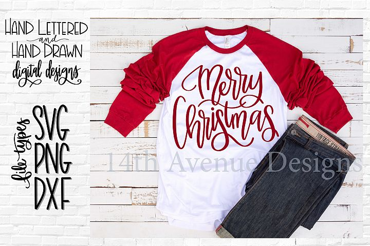 Merry Christmas SVG, Christmas Cut File, Hand Lettered