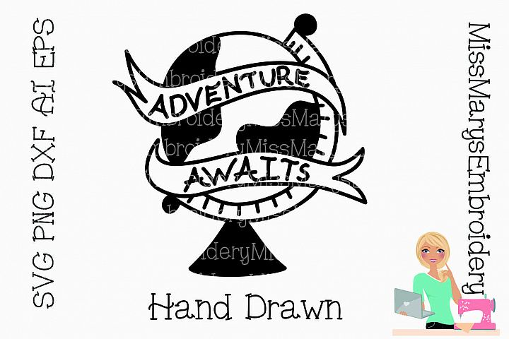 Adventure Awaits Travel Cutting File SVG PNG DXF AI EPS Al