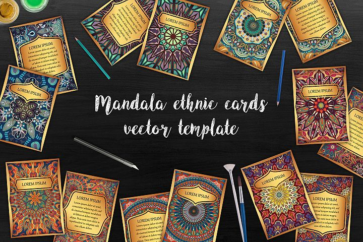 Mandala ethnic cards vector templates set.