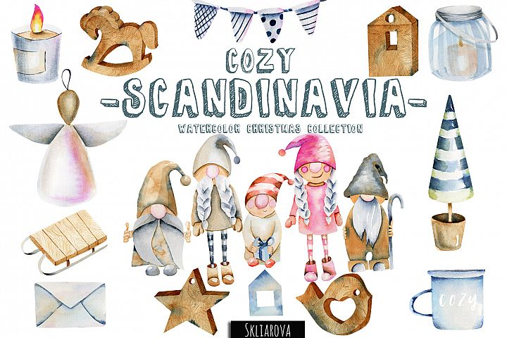 Cozy Scandinavia. Christmas watercolor clip art.