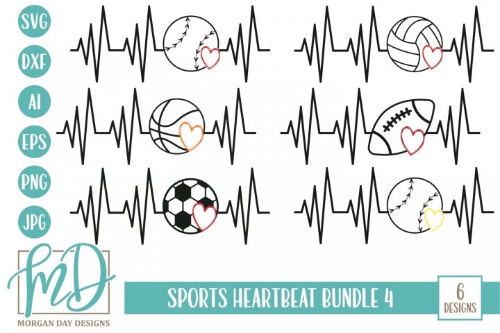 Sports Heartbeat Bundle 4 SVG, DXF, AI, EPS, PNG, JPEG