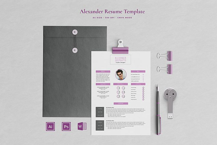 Alexander Resume with Cover Letter Professional Template