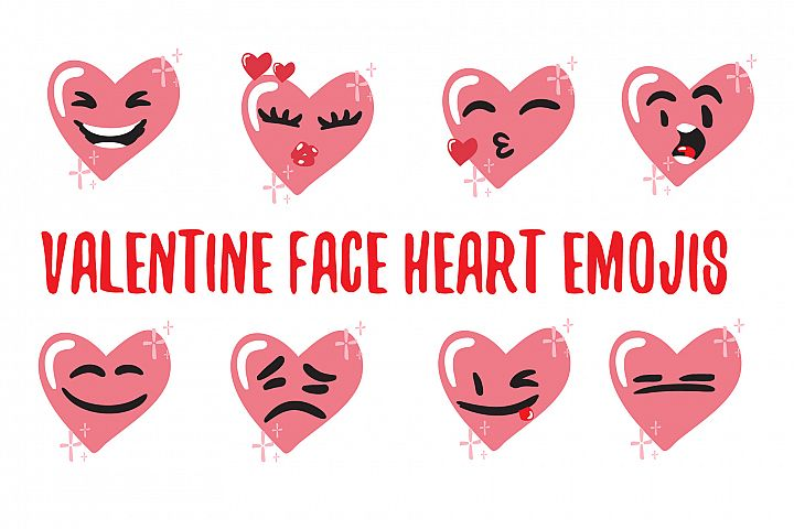 Valentine face heart emojis. Heart face icon.