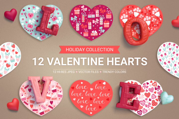 12 Valentine Hearts