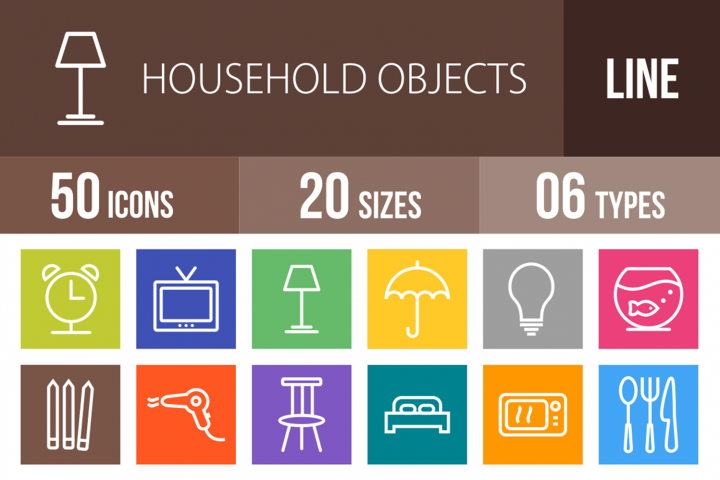 50 Household Objects Line Multicolor B/G Icons