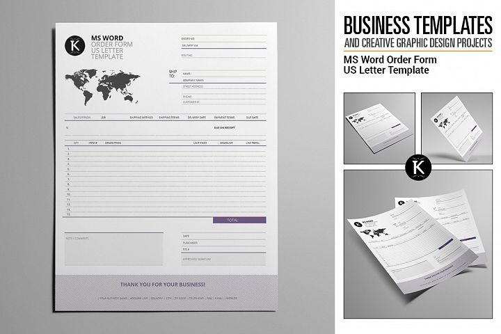 MS Word Order Form US Letter Template
