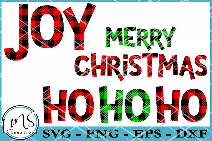Buffalo Plaid Pattern Christmas Words SVG, PNG, EPS, DXF