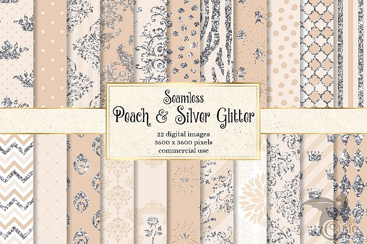 Peach and Silver Glitter Digital Paper