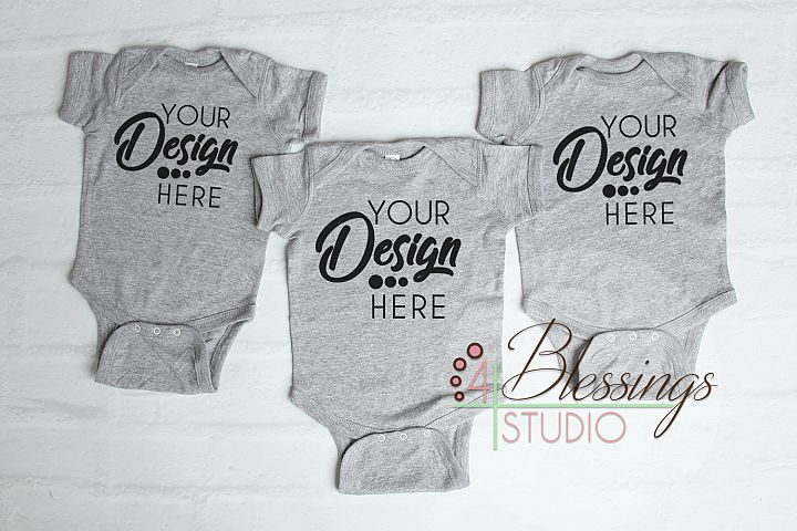 Triplet Three Blank Gray Baby Bodysuits Shirt Mockup