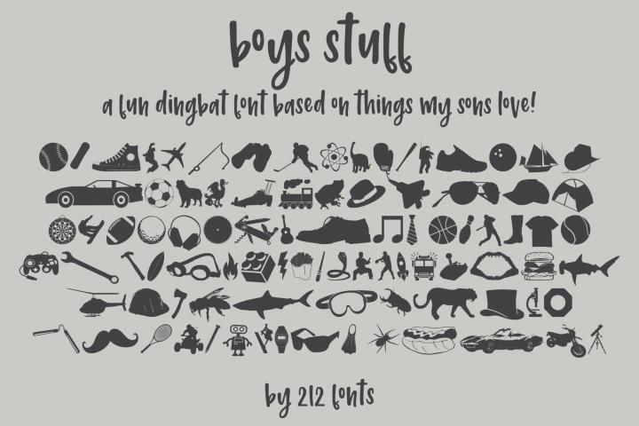 212 Boys Stuff Dingbat Font