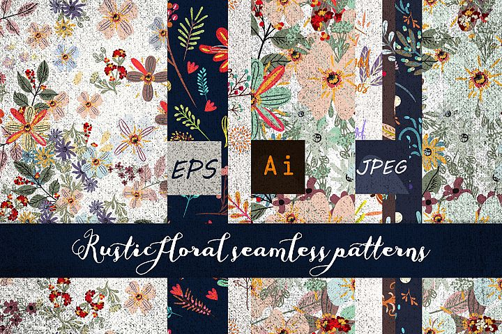 Rustic vector seamless patterns