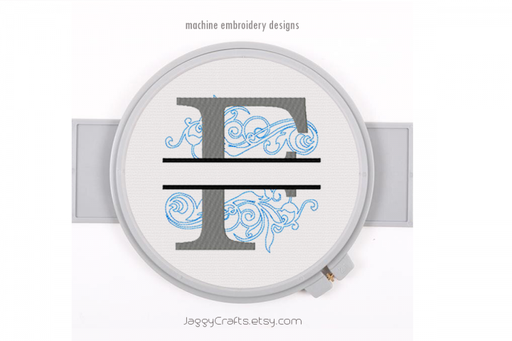 Embroidery Fonts Split Monogram F, Monogram Fonts Design