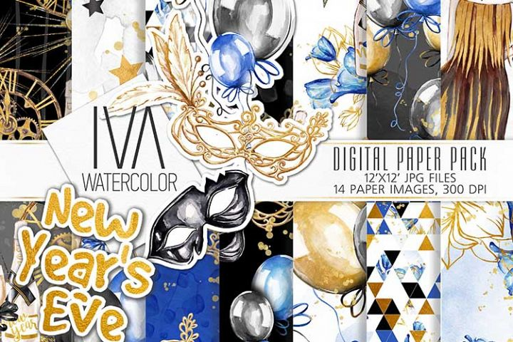 New Years Eve Digital Paper Pack, New years masks