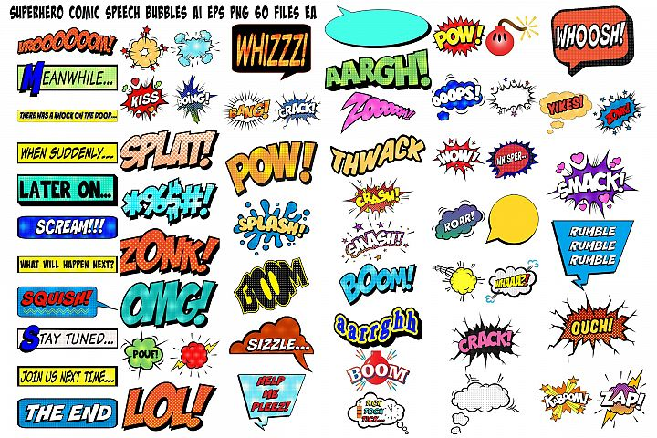 Superhero Comic Speech Bubbles AI EPS PNG